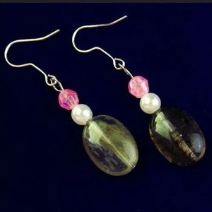 Volcano Cherry quartz pearl earrings